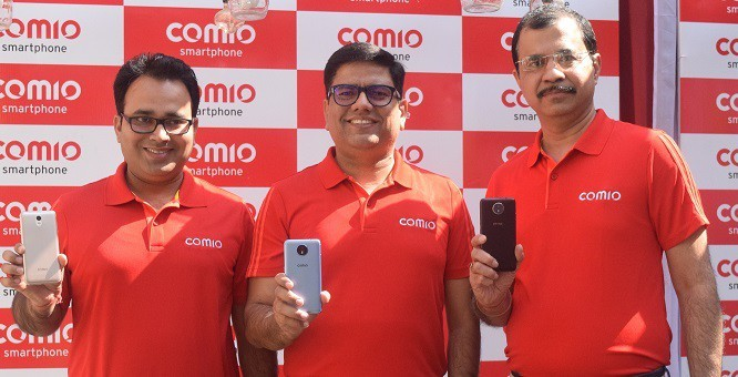 15thFeb_Launch of COMIO S1 Lite and C2 Lite-Anil Tiwari(Product Head), Sanjay Kalirona(CEO &Director) & Sumit Sehgal (Chief Maketing Officer)