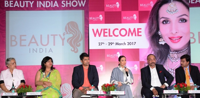 From L-R- Ms. Kajal Anand, President, All India Cosmetic Manufacturing Association, Dr. Sangeetha Chauhan, President, All India Hair and Beauty Association, Mr.