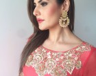 Actress Zareen Khan wearing Garo by Priyangsu & Sweta & Jewellery by Shillpa Purii for an event in Pune