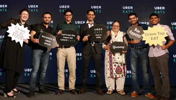 (L-R) Bhavik Rathod, Head UberEATS India, fourth & Kartik Murthy, Product Manager, UberEATS Internationationalization & Growth extreme right at UberEATS India launch