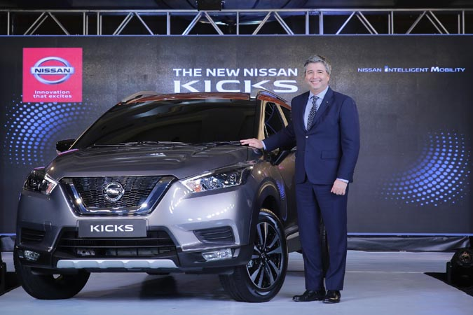 Photo caption - Thomas Kuehl, President, Nissan India Operations at the exterior unveil of the new Nissan KICKS in Mumbai