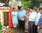 Shri. Manohar Parrikar lays foundation stones for the refurbishment of the existing pedestrian bridge linking Central Library and the creek and the beautification and upgradation of Azad Maidan Square