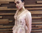 Actress Amruta Khanvilkar wearing KALKI Fashion outfit at  her event